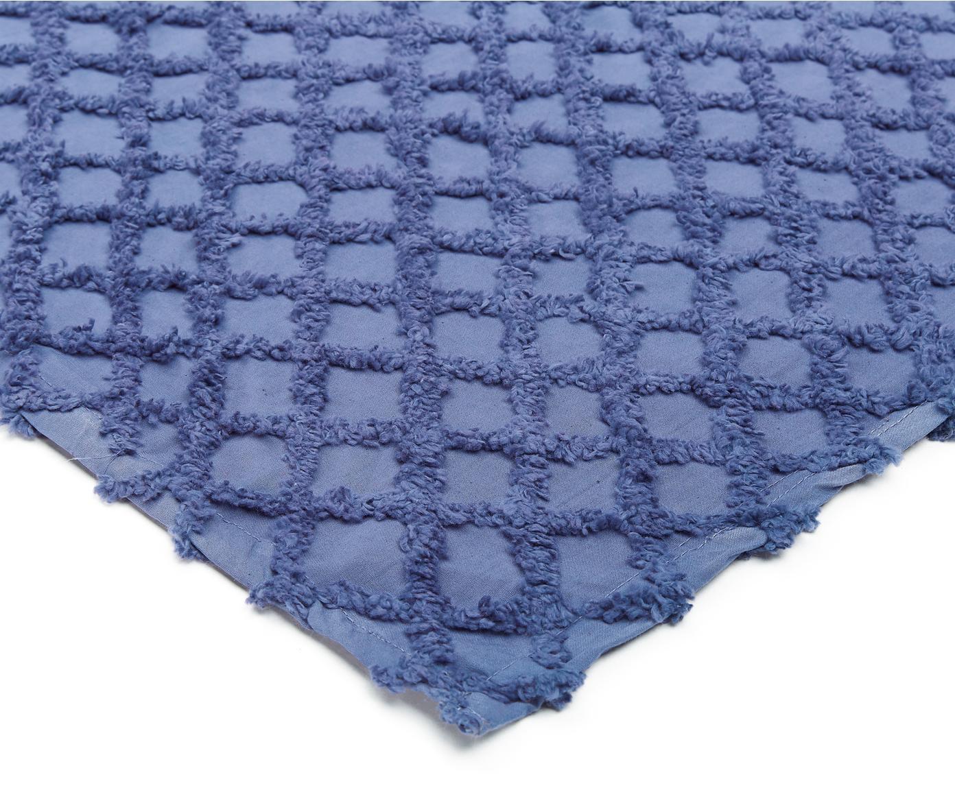Tagesdecke Royal mit Hoch-Tief-Muster, 100% Baumwolle, Blau, 180 x 260 cm