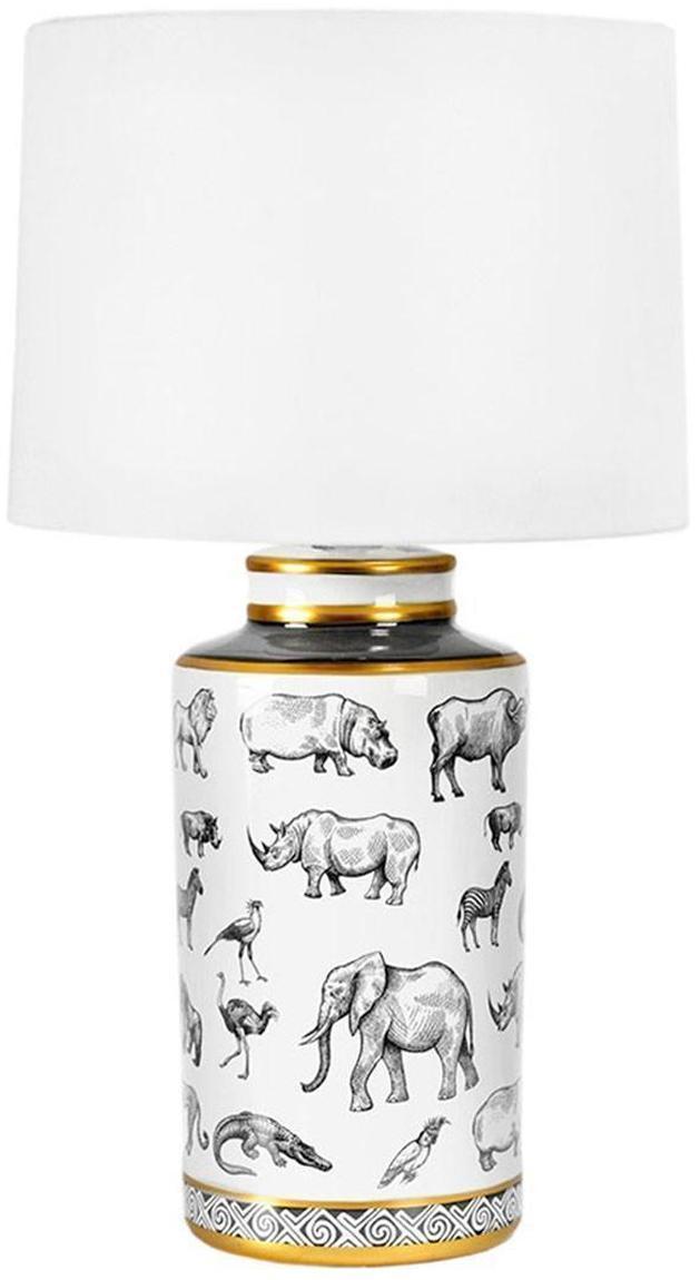 Lámpara de mesa Africa, Pantalla: poliéster, Multicolor, Ø 18 x Al 44 cm