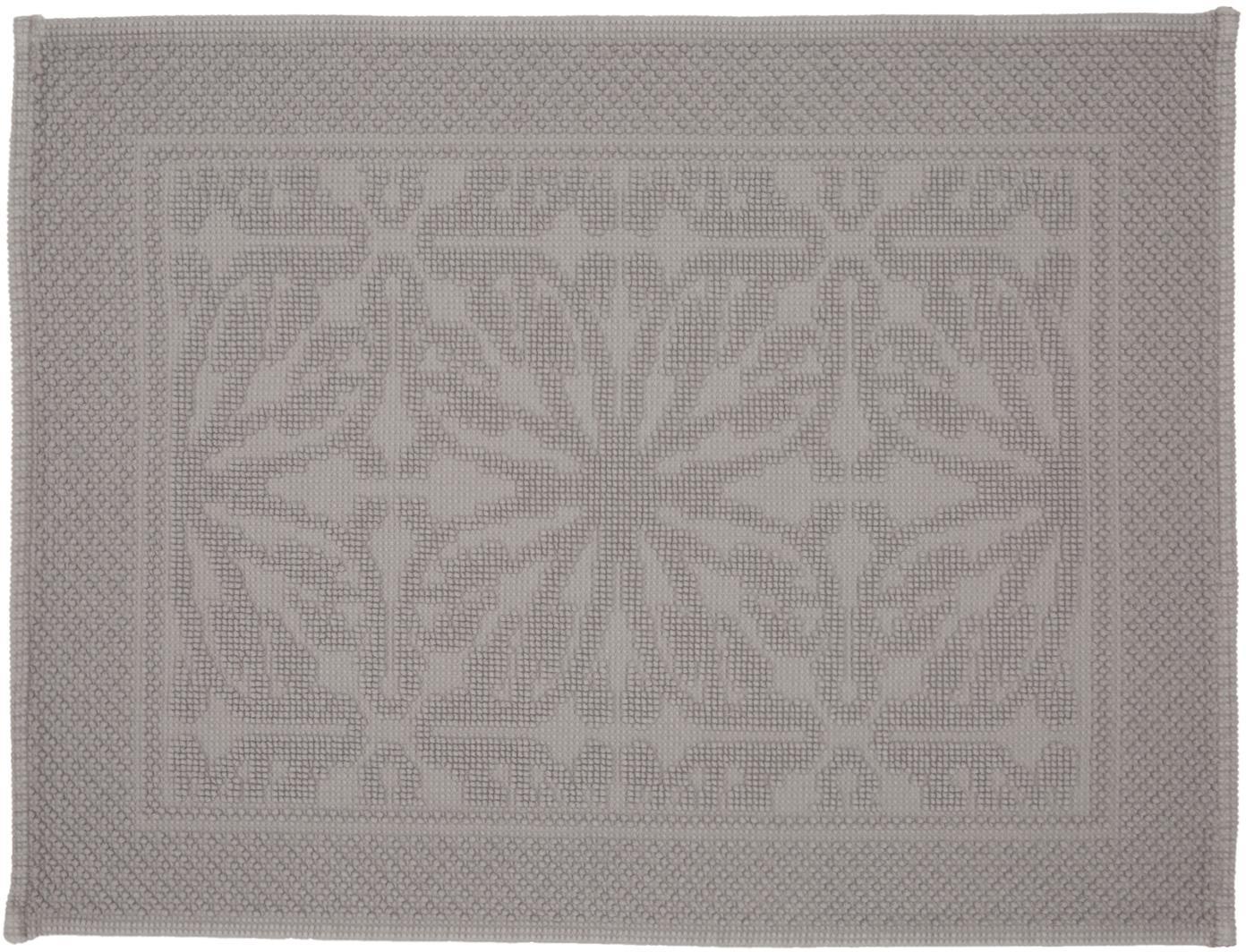 Badvorleger Hammam mit Hoch-Tief-Muster, 100% Baumwolle, schwere Qualität, 1700 g/m², Grau, 60 x 80 cm