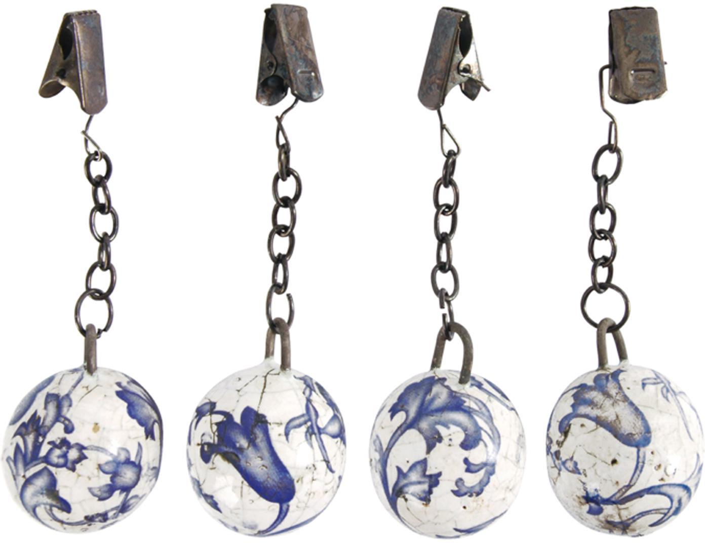 Tischdeckengewichte Evie, 4er-Set, Keramik, Blau, Weiss, Metall, Ø 3 x H 11 cm