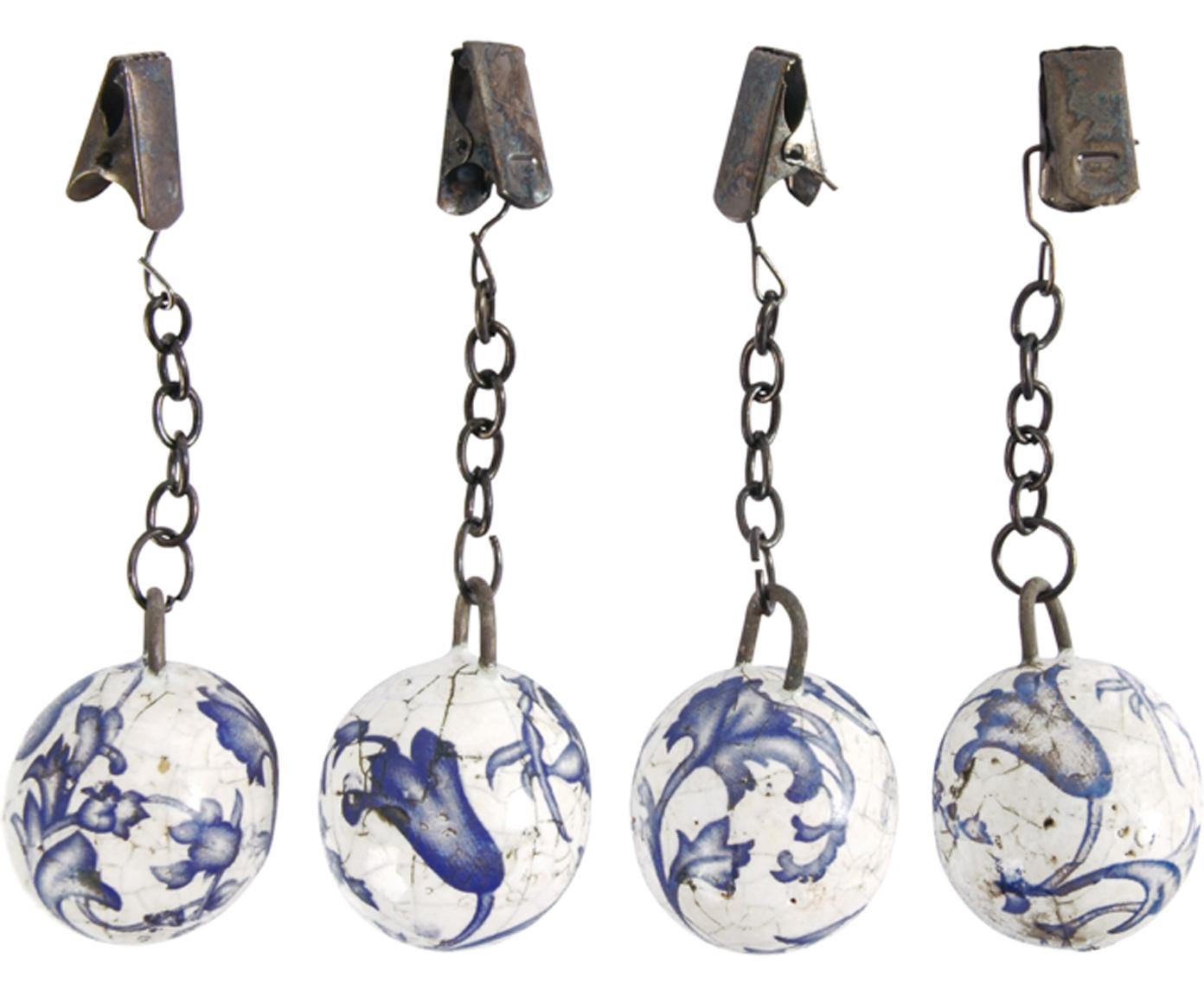 Set 4 pesi per tovaglie Evie, Ceramica, Blu, bianco, metallo, Ø 3 x Alt. 11 cm