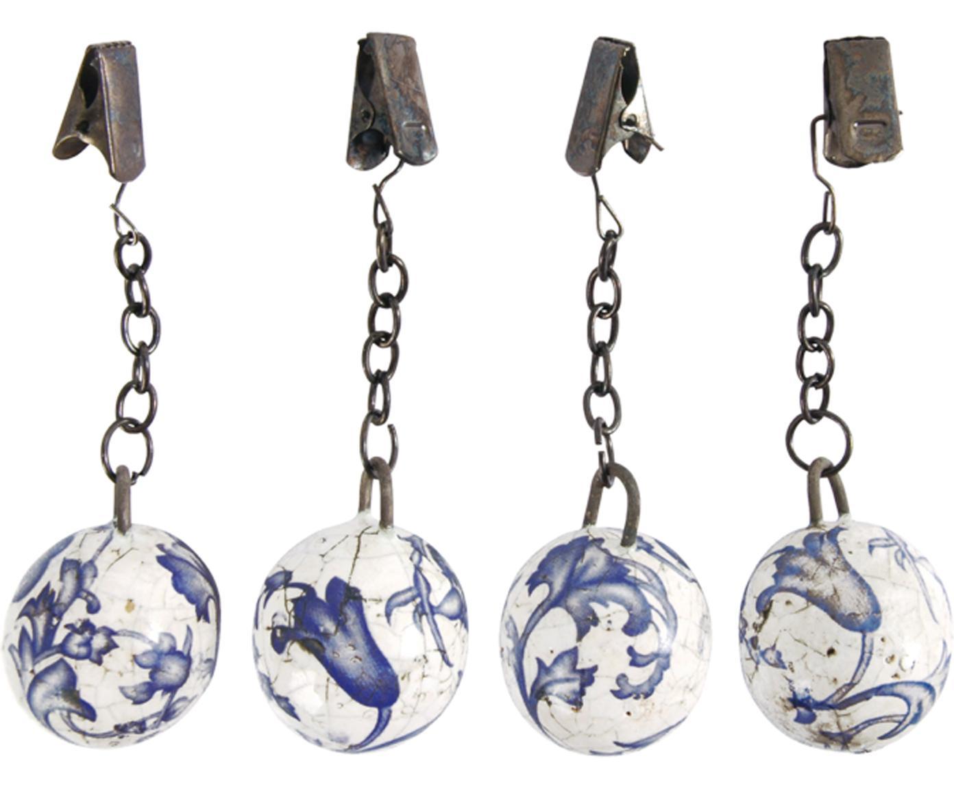 Tischdeckengewichte Evie, 4er-Set, Keramik, Blau, Weiß, Metall, Ø 3 x H 11 cm
