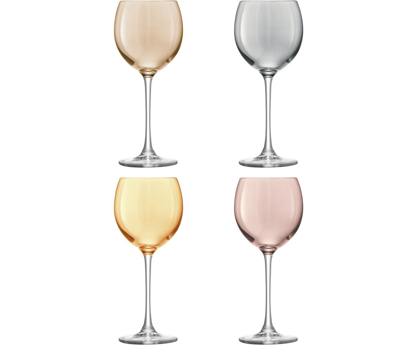 Handbeschilderde wijnglazenset Polka, 4-delig, Glas, Geel, kastanjebruin, grijs, bruin, Ø 9 x H 21 cm