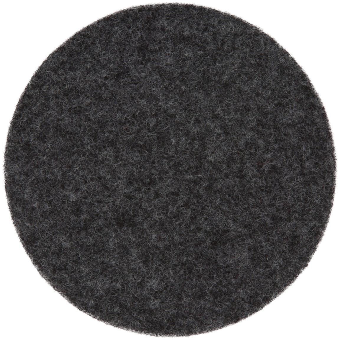 Posavasos de fieltro Leandra, 6uds., 90% lana, 10% polietileno, Gris antracita, Ø 10 cm
