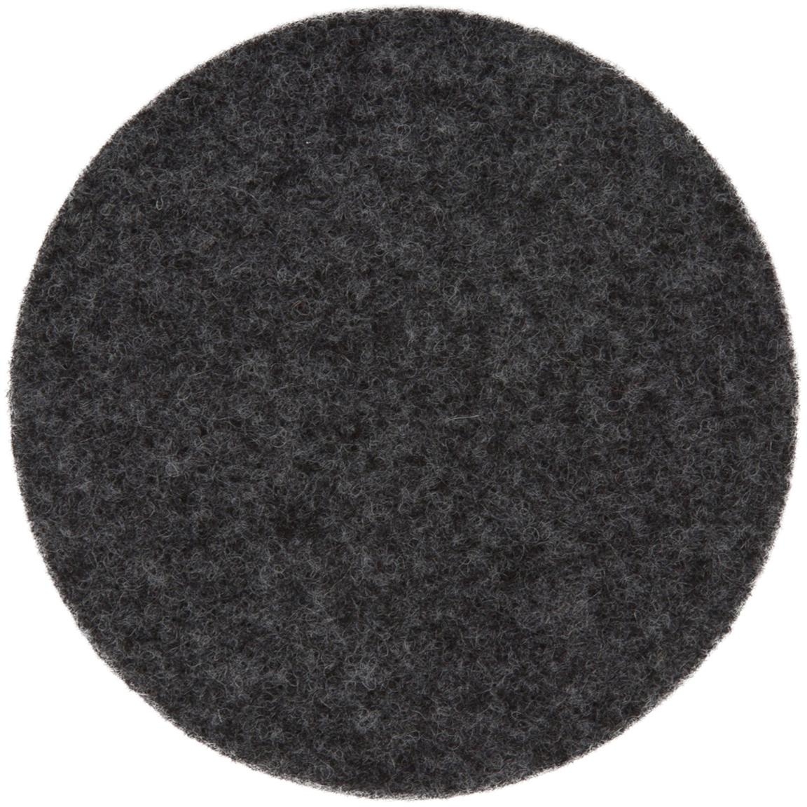 Wollen vilt onderzetter Leandra, 6 stuks, 90% wol, 10% polyethyleen, Antraciet, Ø 10 cm