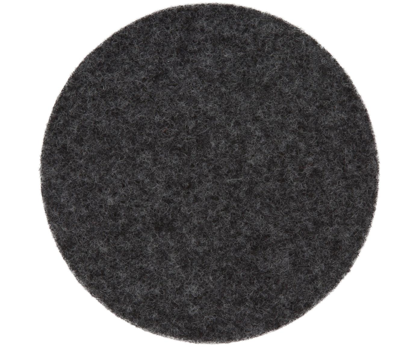 Wollfilz-Untersetzer Leandra, 6 Stück, 90% Wolle, 10% Polyethylen, Anthrazit, Ø 10 cm