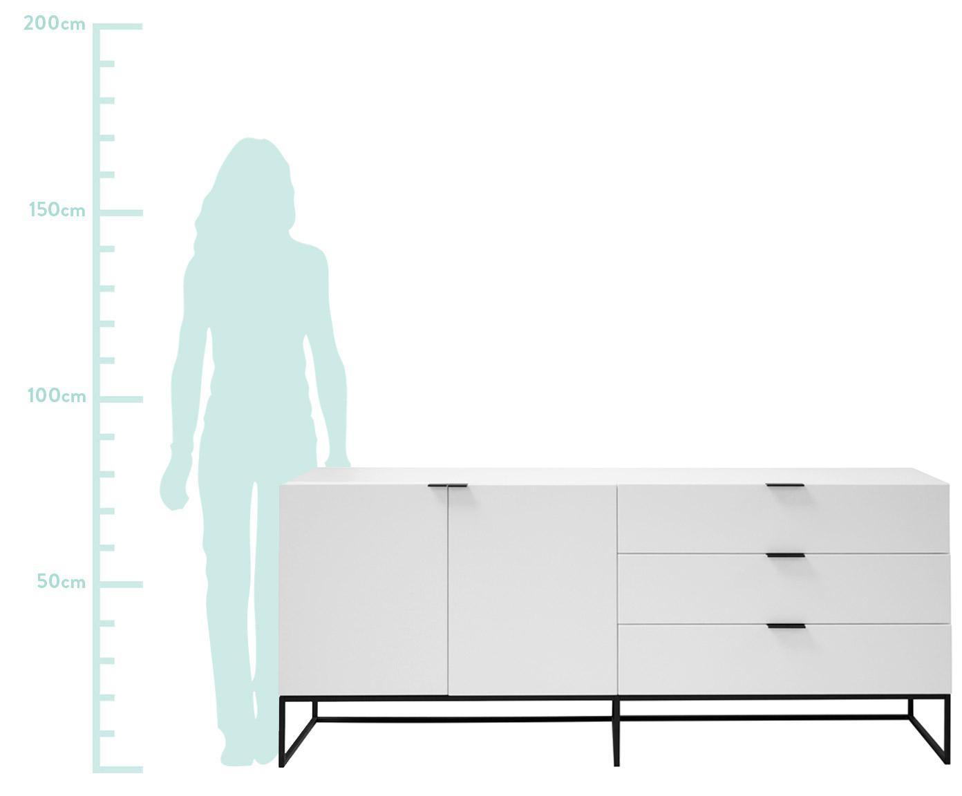 Weisses Sideboard Kobe mit Schubladen, Korpus und Fronten: Weiss, semi-mattFüsse und Griffe: Schwarz, 180 x 80 cm
