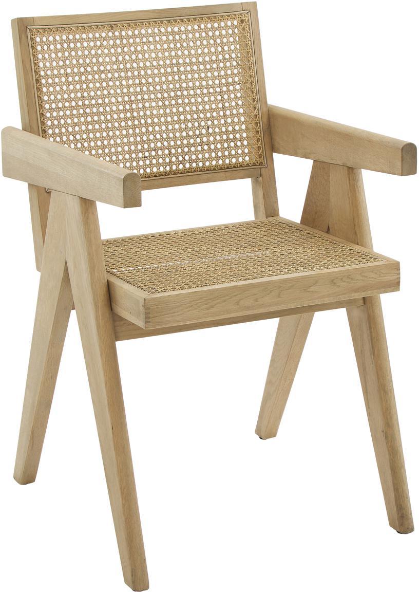 Armlehnstuhl Sissi mit Wiener Geflecht, Gestell: Massives Eichenholz, Sitzfläche: Rattan, Gestell: Eichenholz Sitzfläche: Beige, 52 x 58 cm