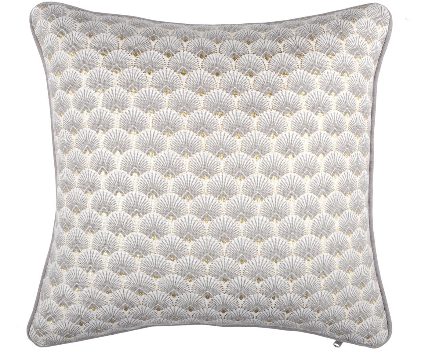 Kissen Corosol mit Art Deco Muster, mit Inlett, 100% Baumwolle, Grau, Gold, 40 x 40 cm