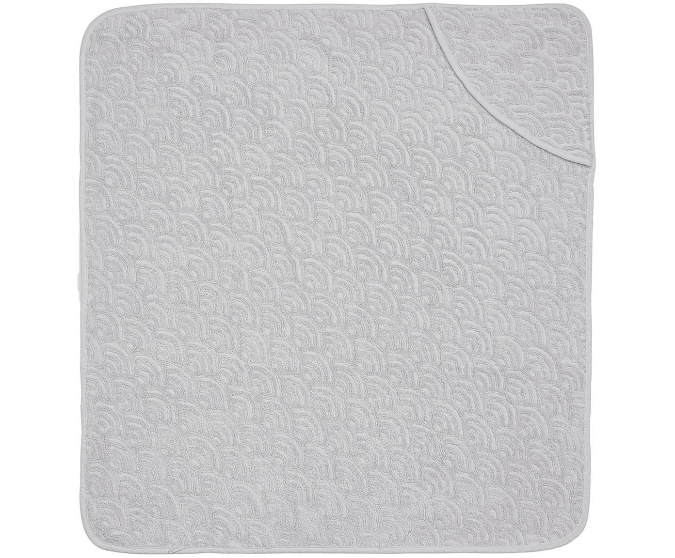 Asciugamano per bambini in cotone organico Wave Fluff, Cotone organico, certificato GOTS, Grigio, Larg. 105 x Lung. 105 cm