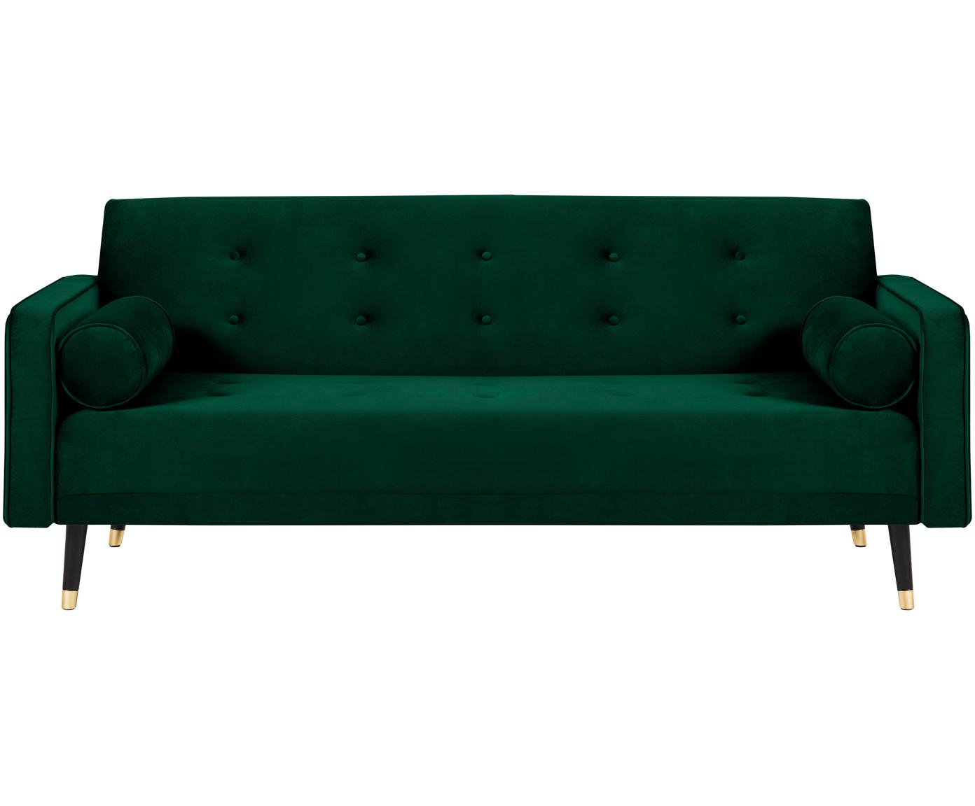 Samt-Schlafsofa Gia (3-Sitzer), Bezug: Polyestersamt, Rahmen: Massives Kiefernholz, Füße: Buchenholz, lackiert, Samt Dunkelgrün, B 212 x T 93 cm