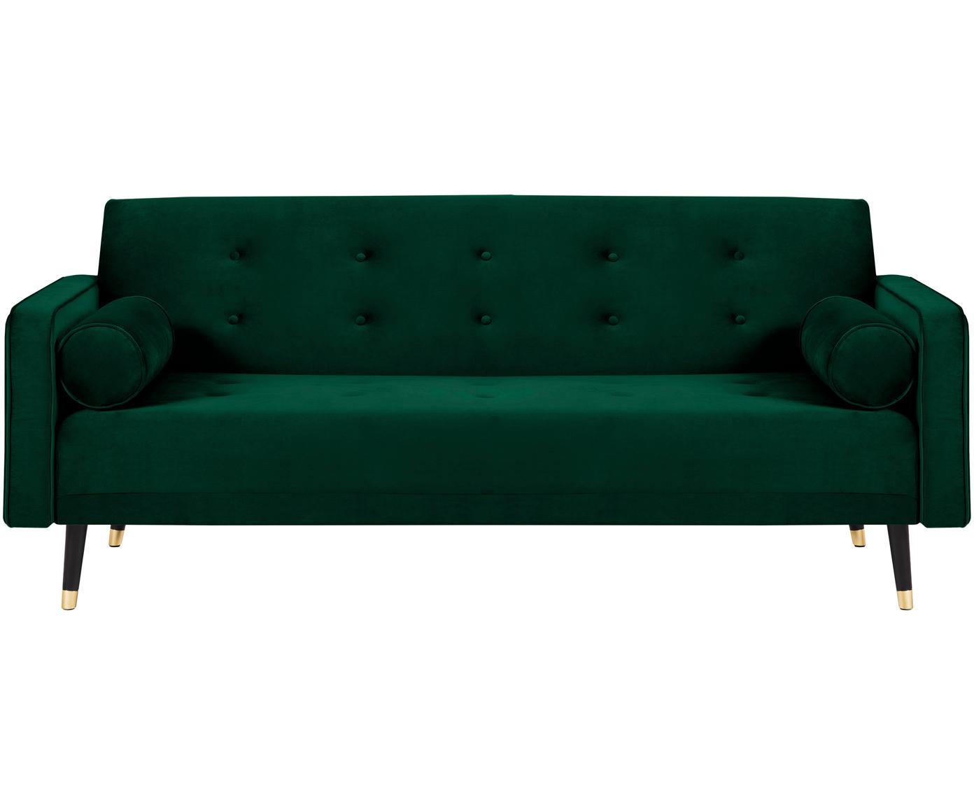 Sofá cama de terciopelo Gia (3plazas), Tapizado: terciopelo de poliéster, Estructura: madera de pino maciza, Patas: madera de haya pintada, Verde oscuro, An 212 x F 93 cm