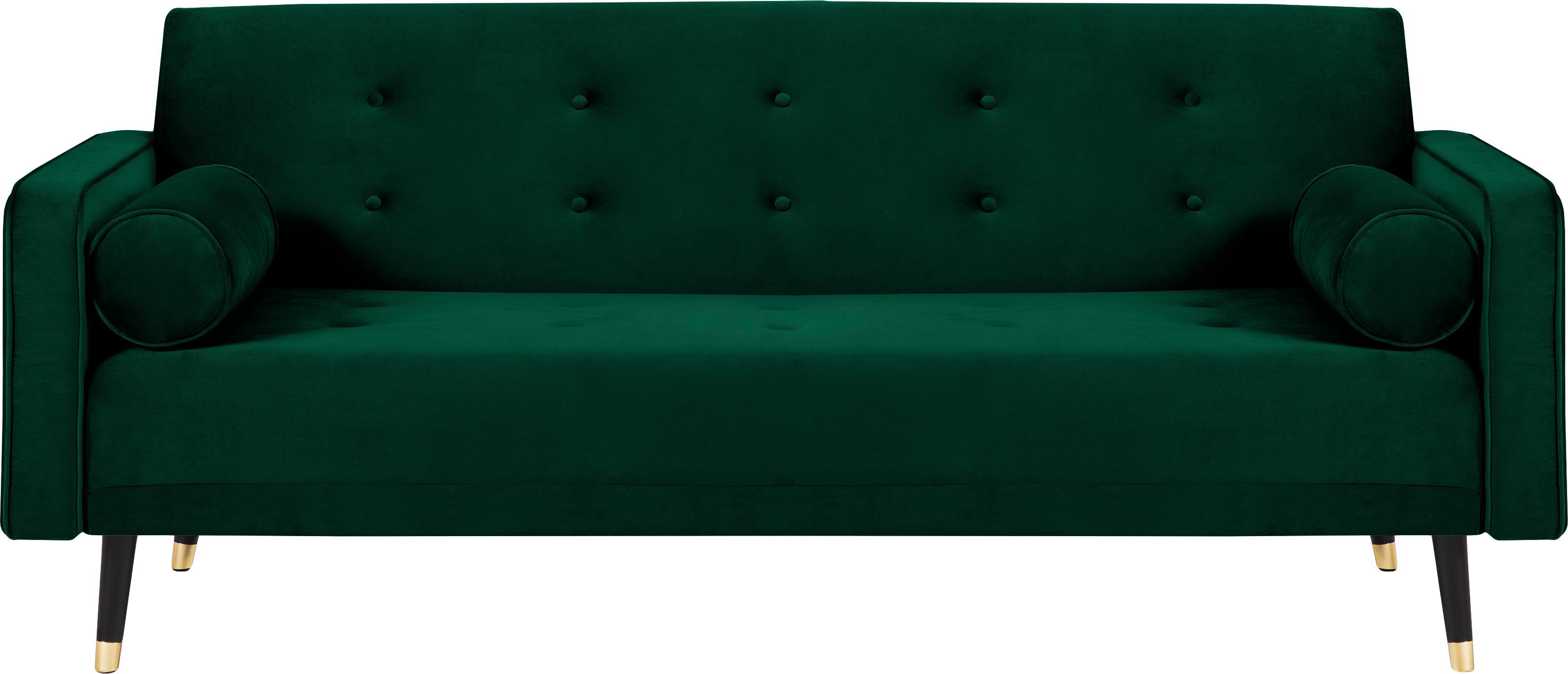 Samt-Schlafsofa Gia (3-Sitzer), Bezug: Polyestersamt Der strapaz, Rahmen: Massives Kiefernholz, Korpus: Spanplatte, Sperrholz, Sp, Füße: Buchenholz, lackiert, Samt Dunkelgrün, B 212 x T 93 cm