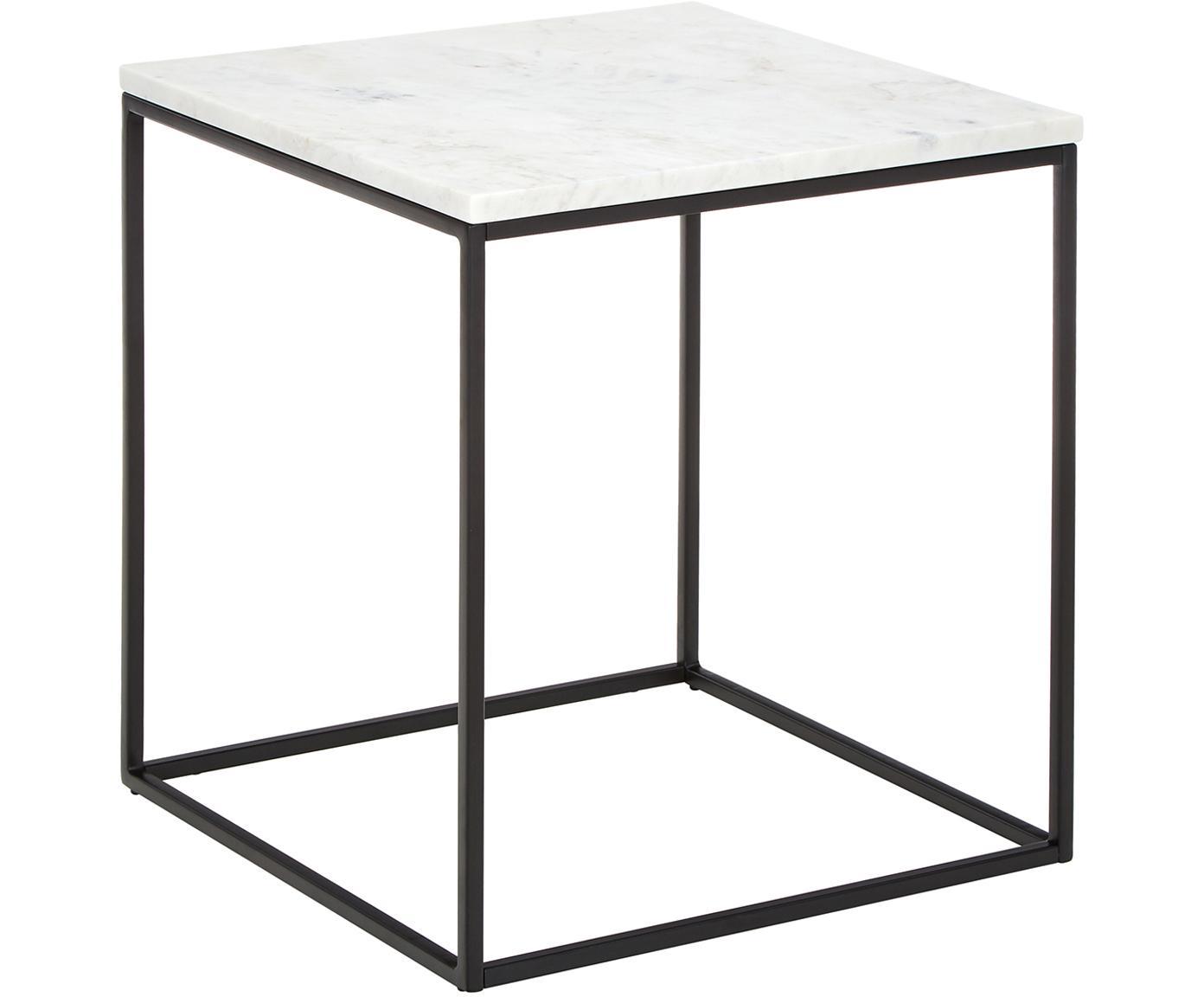 Stolik pomocniczy z marmuru Alys, Blat: marmur, Stelaż: metal malowany proszkowo, Blat: białoszary marmur Stelaż: czarny, matowy, S 45 x W 50 cm