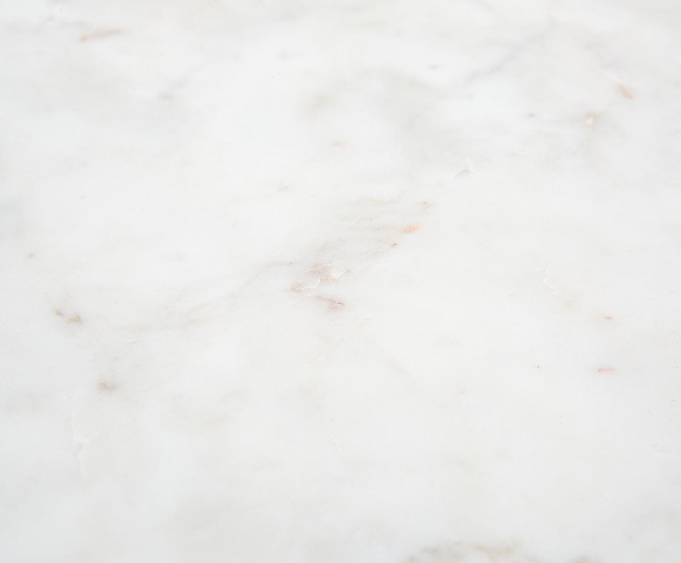 Tavolino con piano in marmo Alys, Piano d'appoggio: pietra naturale di marmo, Struttura: metallo verniciato a polv, Piano d'appoggio: marmo bianco-grigio Struttura: nero opaco, Larg. 45 x Alt. 50 cm