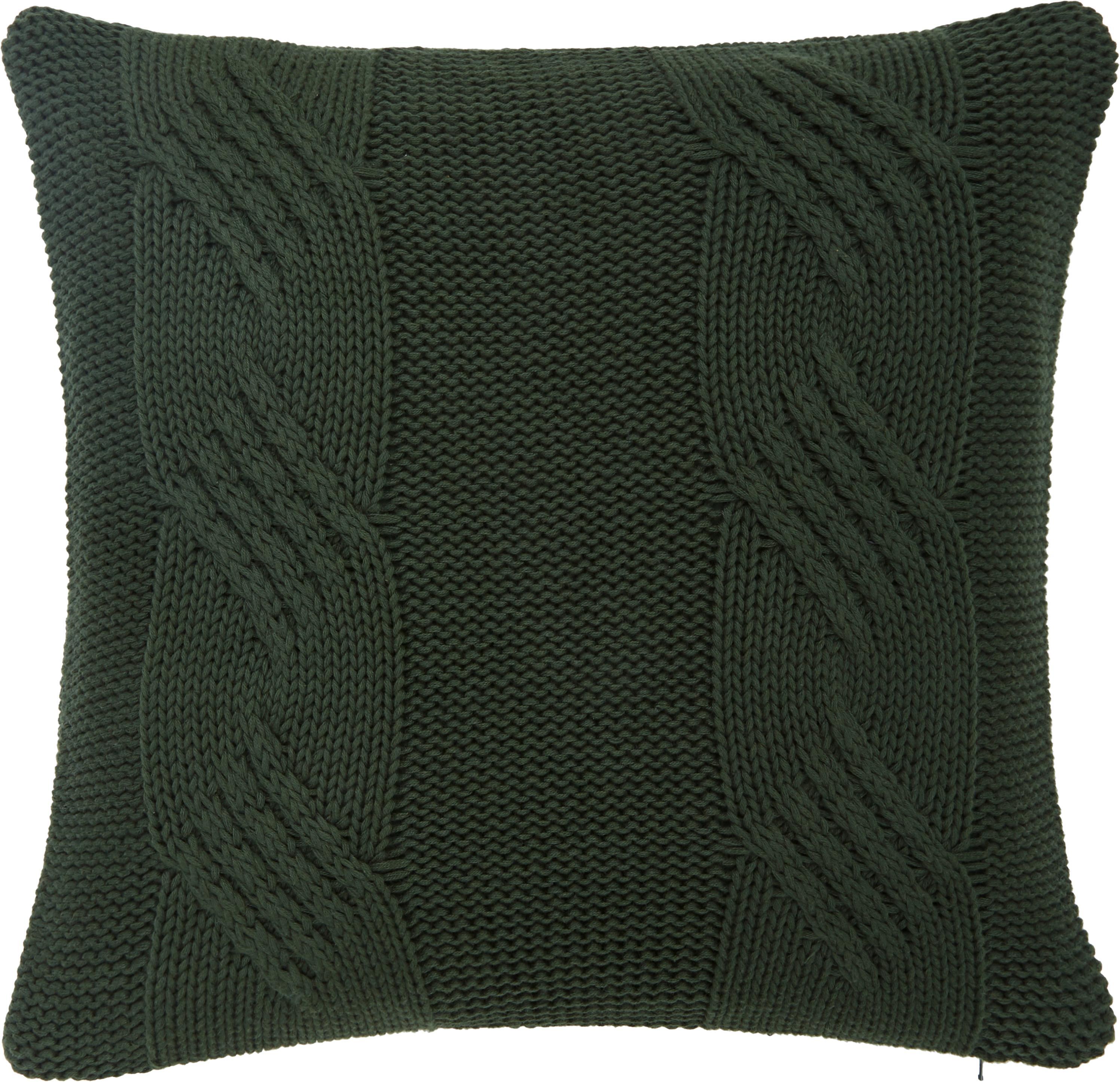 Strick-Kissenhülle Jonah mit leichtem Zopfmuster, 100% Baumwolle, Dunkelgrün, 40 x 40 cm