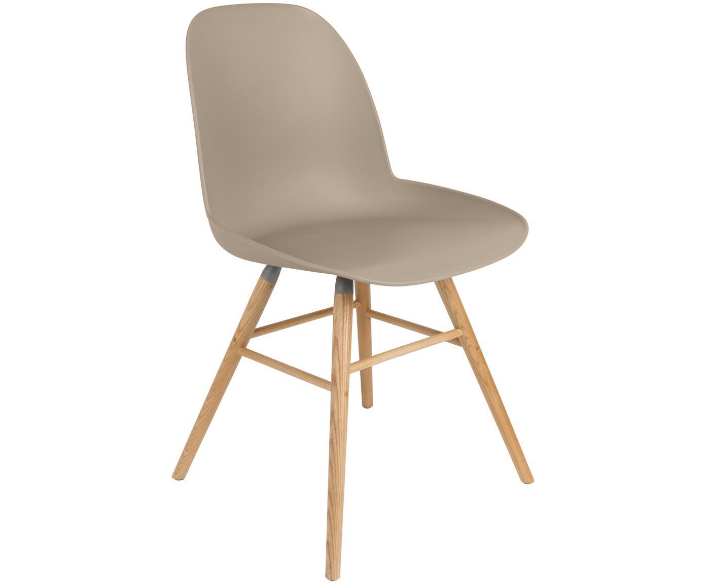 Kunststoffstuhl Albert Kuip mit Holzbeinen, Sitzfläche: 100% Polypropylen, Füße: Eschenholz, Taupe, B 49 x T 55 cm