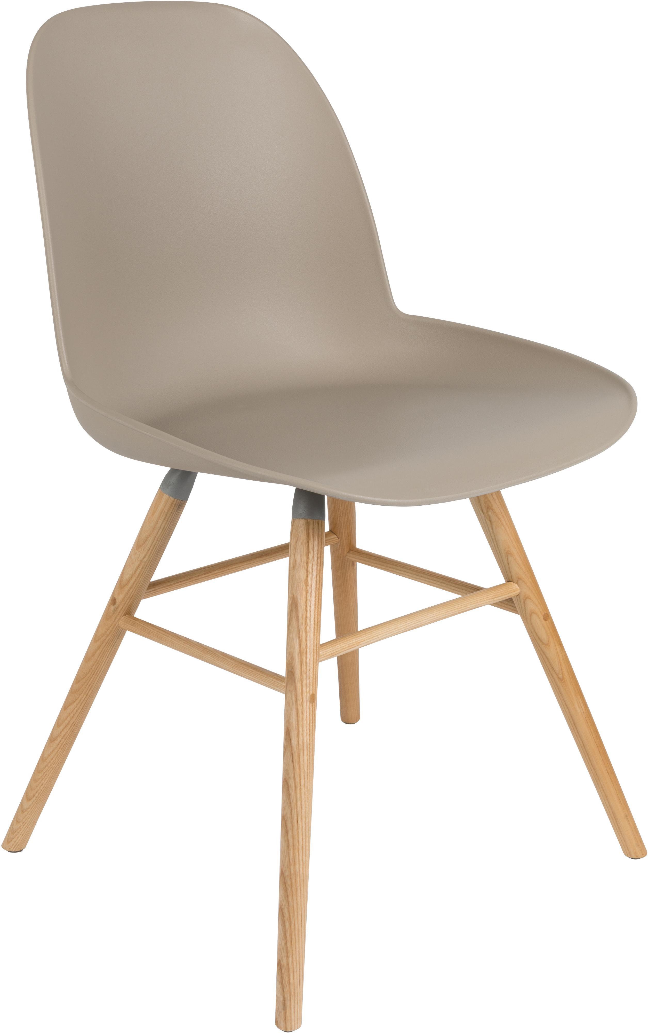 Silla Albert Kuip, Asiento: 100% polipropileno, Patas: madera de fresno, Gris pardo, An 49 x Al 82 cm