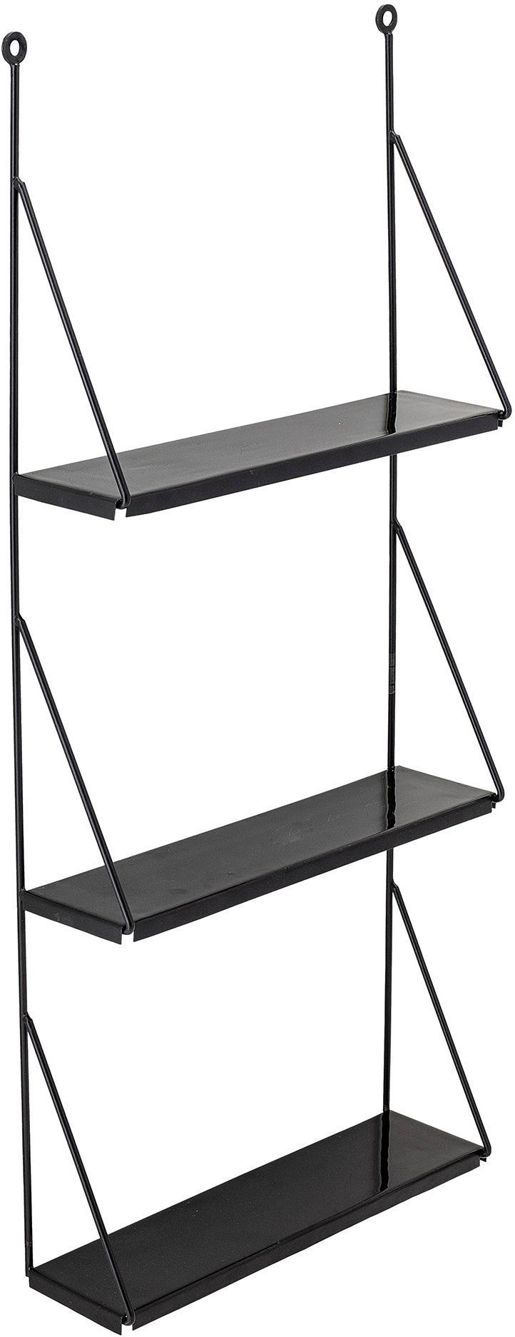 Półka ścienna Walter, Metal lakierowany, Czarny, S 41 x W 90 cm