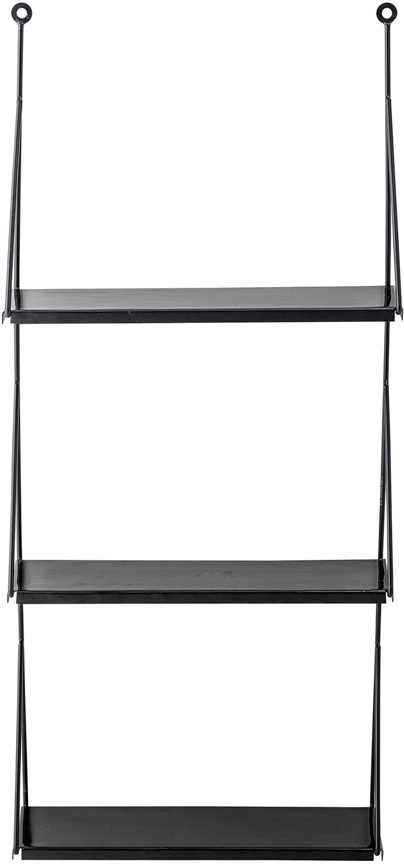 Wandrek Walter in zwart, Gelakt metaal, Zwart, 41 x 90 cm