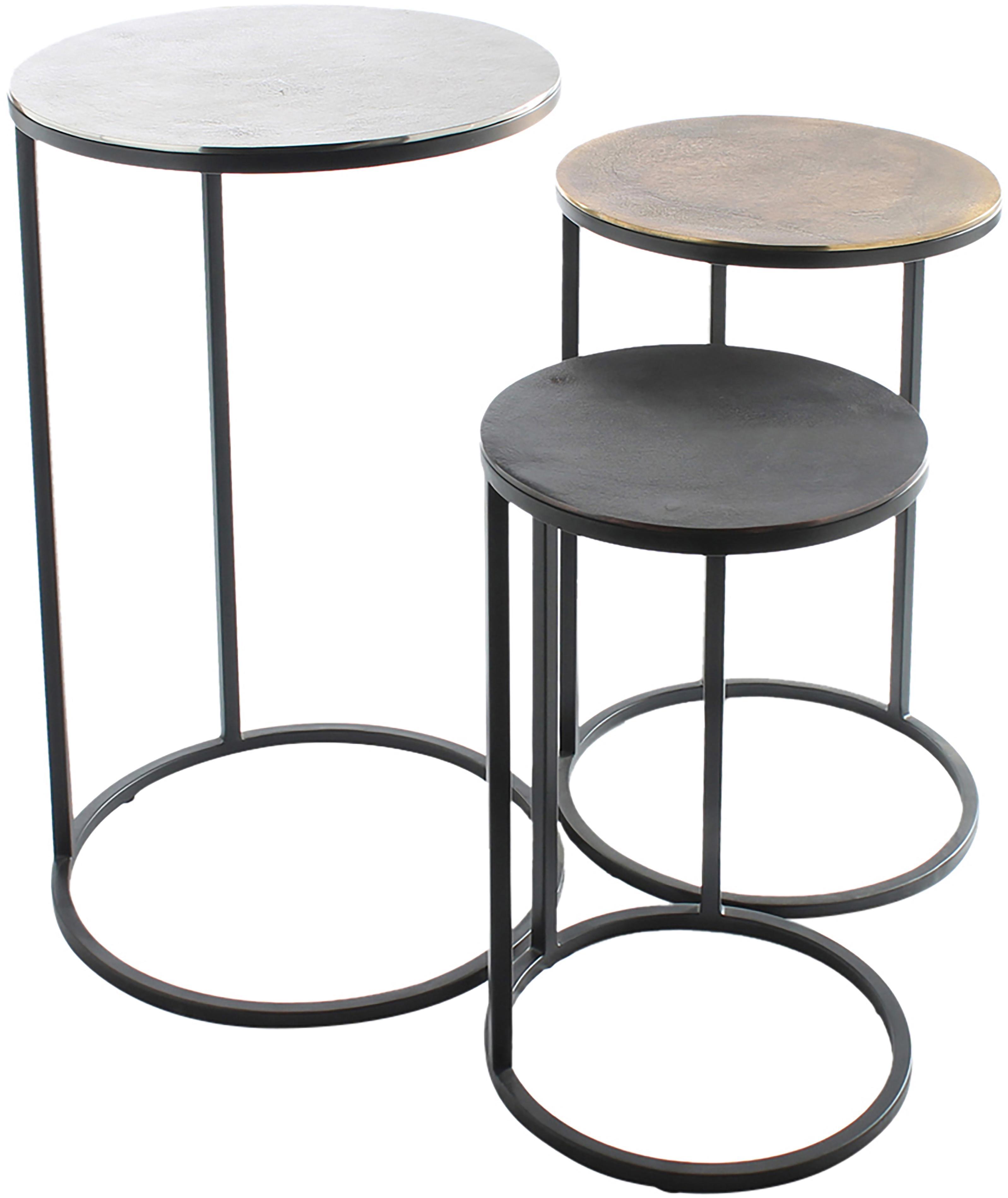 Set de mesas auxiliares Calvin, 3uds., Tablero: aluminio, recubierto, Estructura: metal, pintado, Aluminio, latón, Set de diferentes tamaños