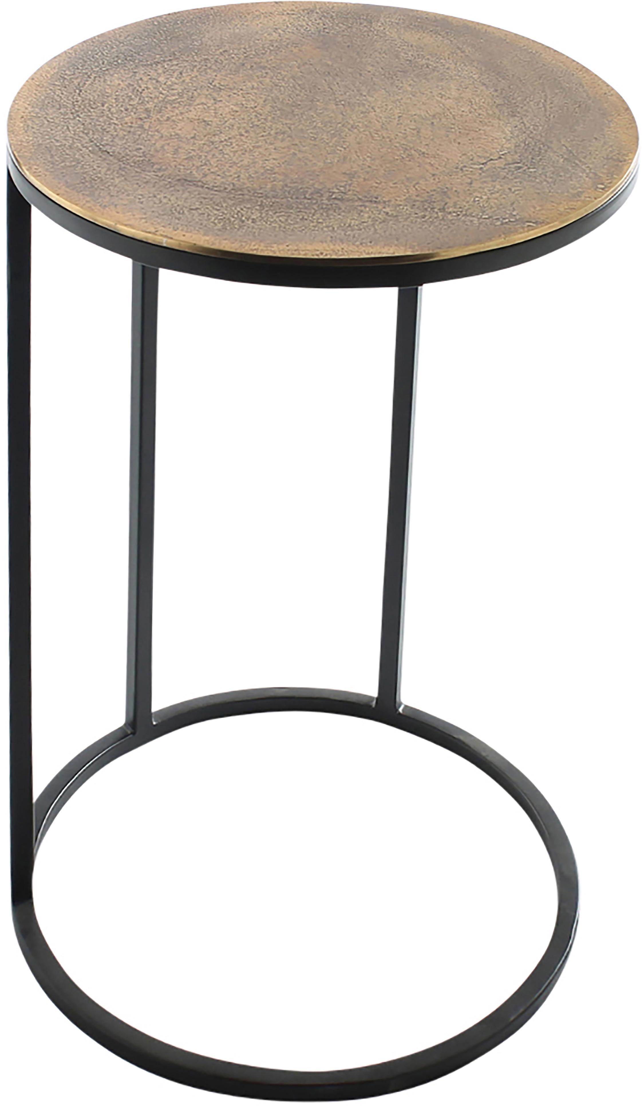 Set 3 tavolini in metallo Calvin, Ripiani: alluminio rivestito, Struttura: metallo verniciato, Alluminio, ottone, Diverse dimensioni