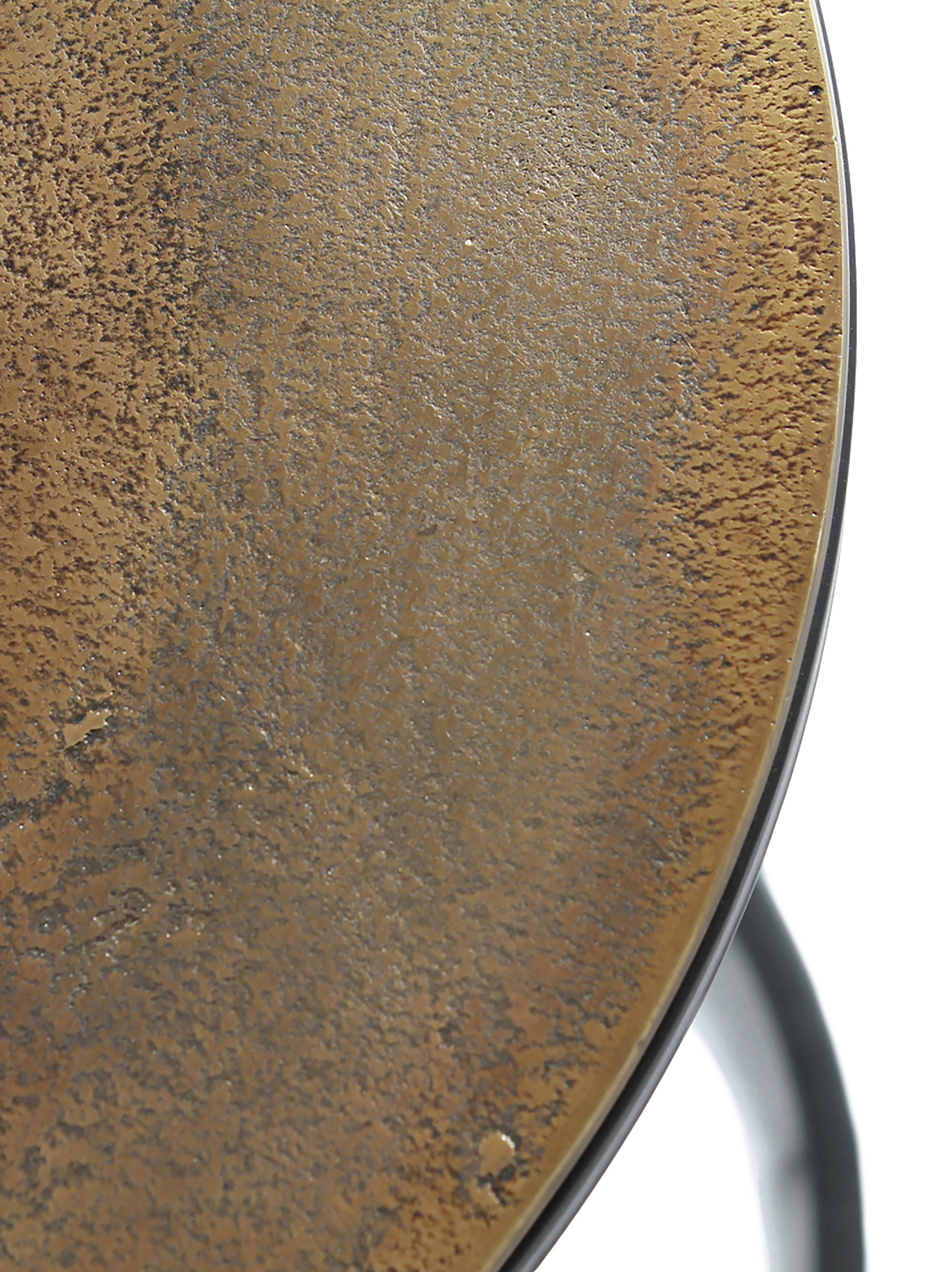 Metall Beistelltisch 3er-Set Calvin, Silber, Messing, Sondergrößen