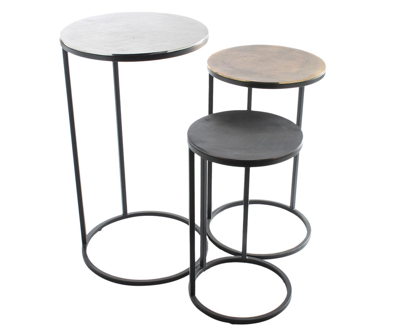 Set de mesas auxiliares Calvin, 3uds., Tablero: aluminio, recubierto, Estructura: metal, pintado, Aluminio, latón, Tamaños diferentes