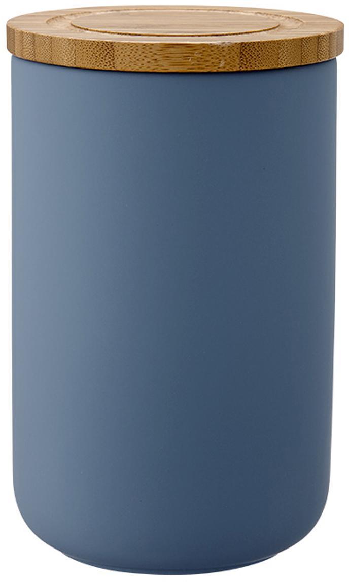 Bote Stak, Caja: cerámica, Azul mate, bambú, Ø 10 x Al 17 cm