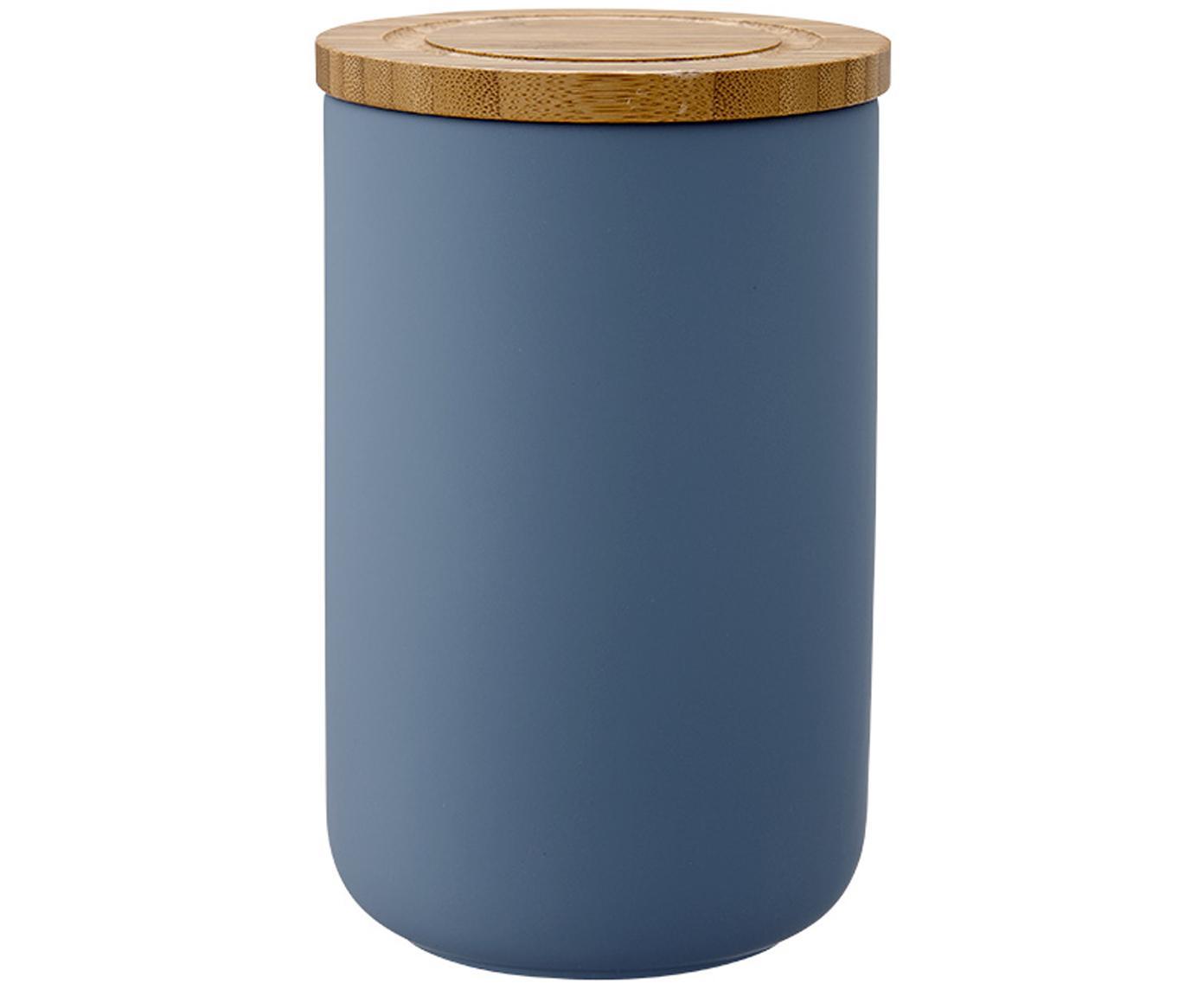 Aufbewahrungsdose Stak, Dose: Keramik, Deckel: Bambusholz, Mattblau, Bambus, Ø 10 x H 17 cm