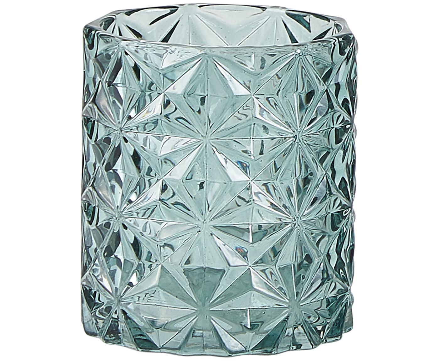 Waxinelichthoudersset Rosie, 3-delig, Glas, Groen, licht transparant, Ø 8 x H 9 cm