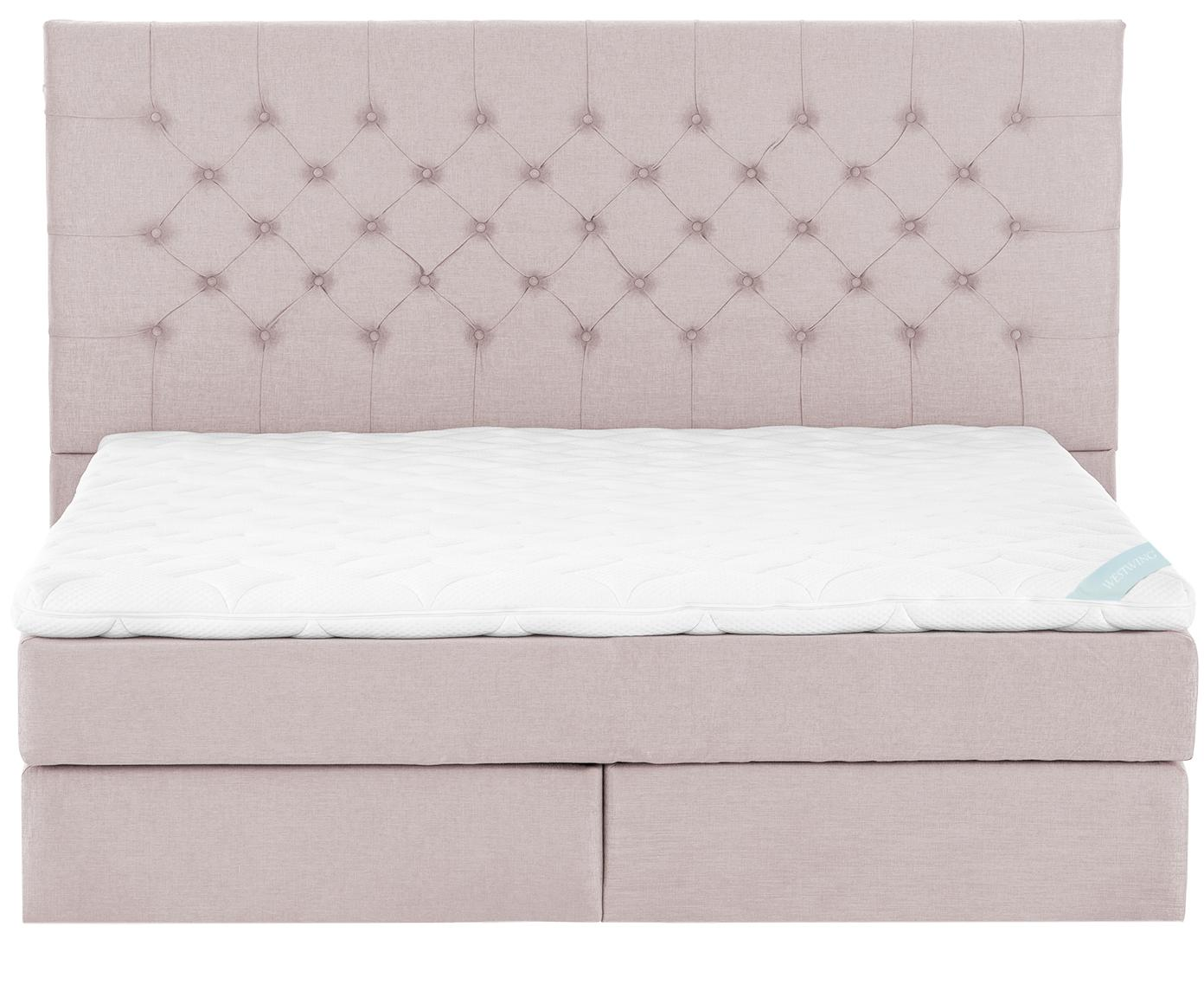Łóżko kontynentalne premium Phoebe, Nogi: lite drewno bukowe, lakie, Brudny różowy, 200 x 200 cm