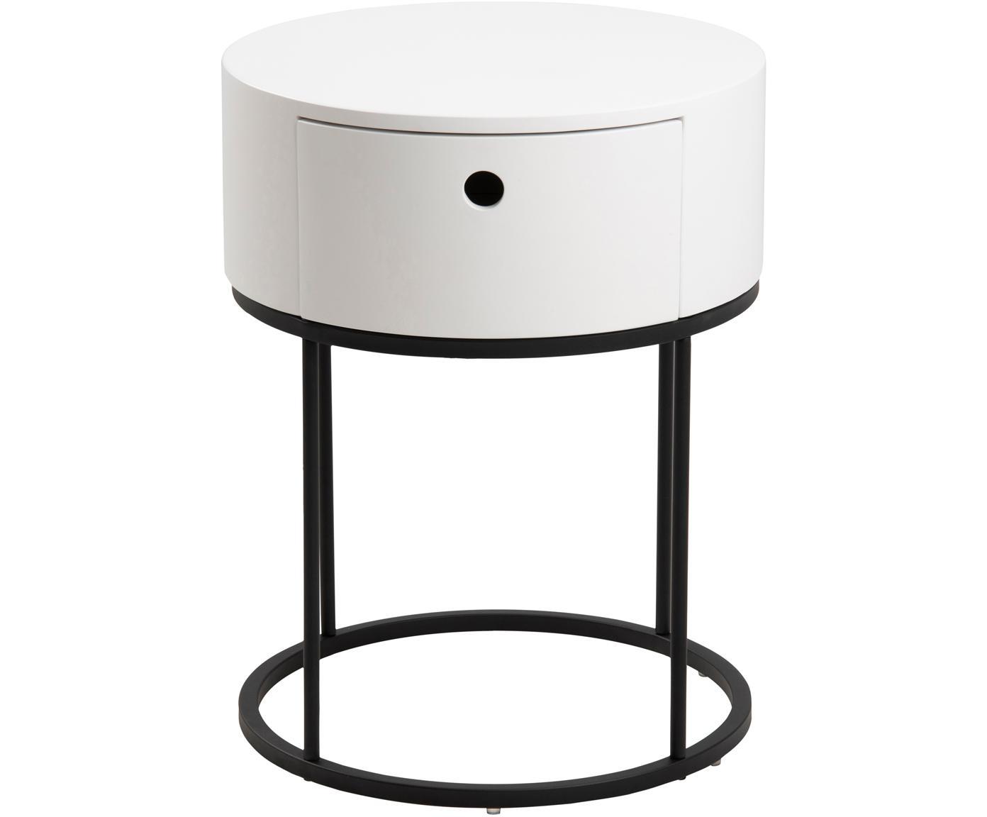 Mesilla de noche redonda Polo, Estructura: tablero de fibras de dens, Patas: metal con pintura en polv, Blanco, Ø 40 x Al 51cm