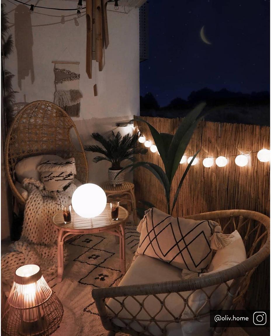 LED Lichterkette Bellin, 320 cm, Lampions: Baumwolle, Weiß, L 320 cm