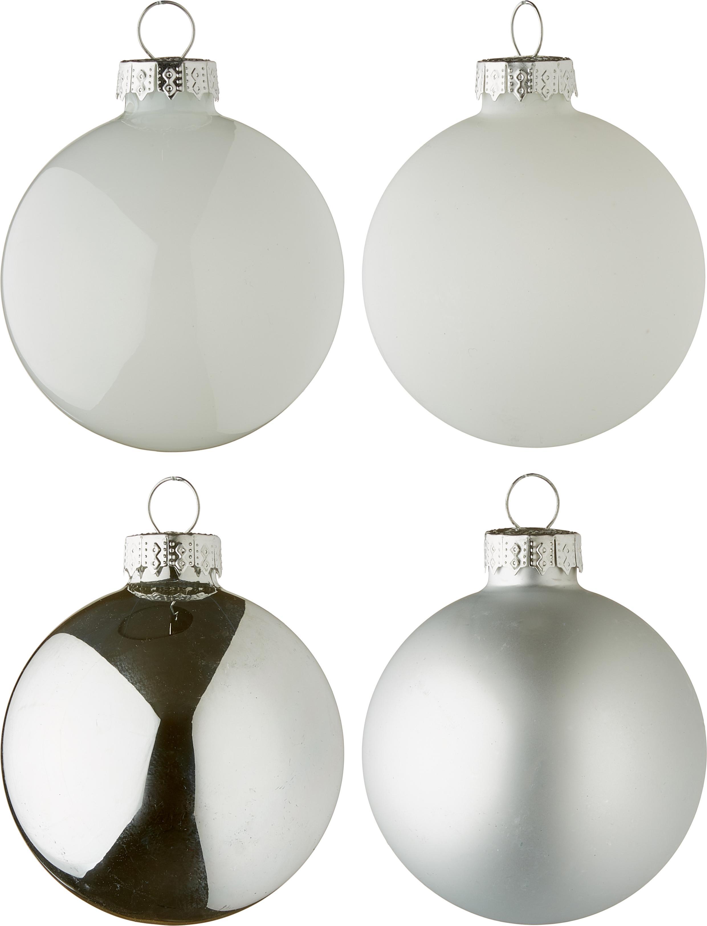 Weihnachtskugel-Set Lorene, 24 tlg., Silberfarben, Weiß, matt und glänzend, Ø 6 cm