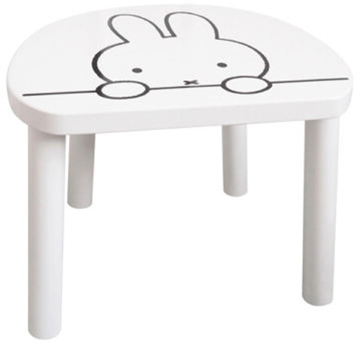 Kinderhocker Miffy, Sitzfläche: Mitteldichte Holzfaserpla, Beine: Kiefernholz, Weiss, Schwarz, 32 x 25 cm