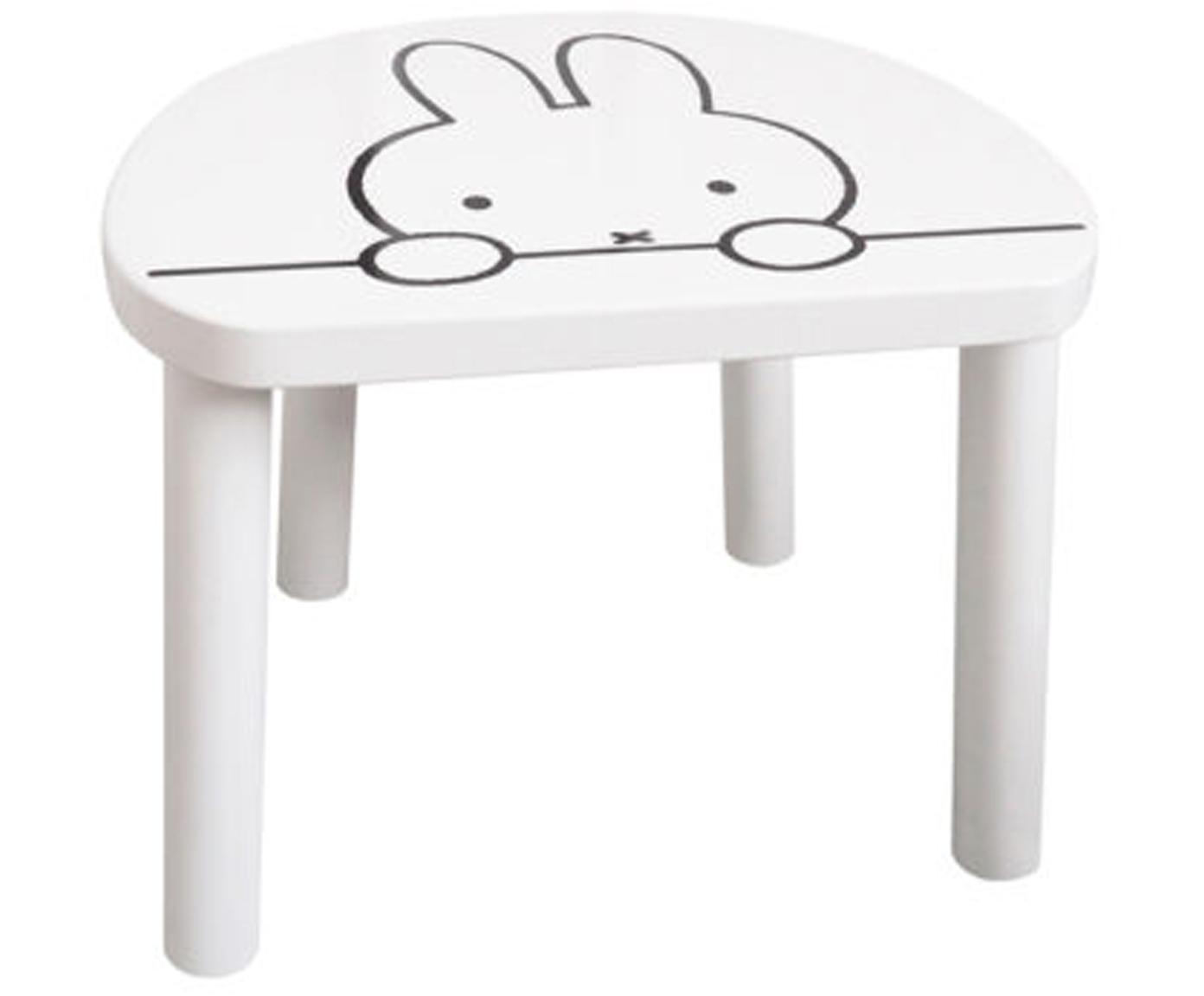 Kinderhocker Miffy, Sitzfläche: Mitteldichte Holzfaserpla, Beine: Kiefernholz, Weiß, Schwarz, 32 x 25 cm