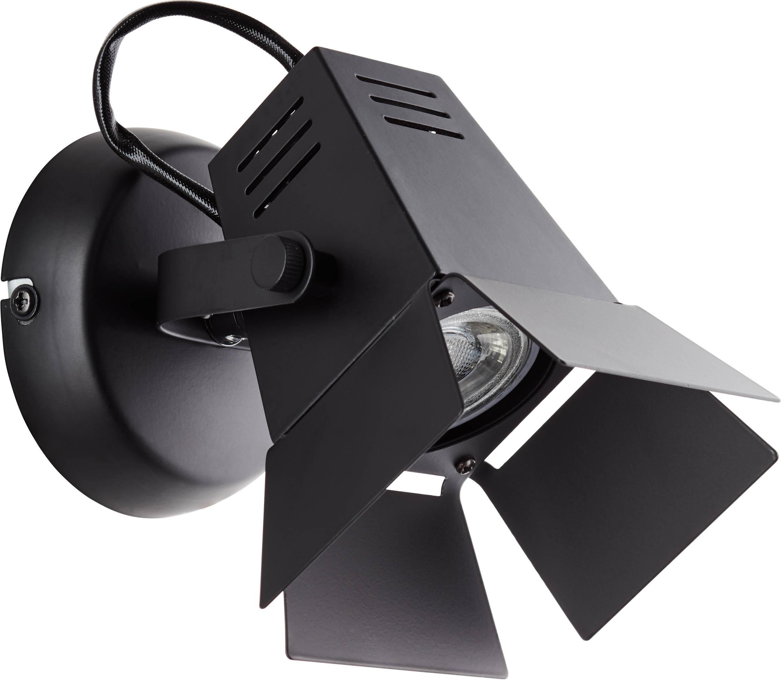 LED wandlamp Movie, Lampenkap: metaal, Baldakijn: metaal, Frame: zwart. Zitvlak: rotan, Ø 14 x H 15 cm