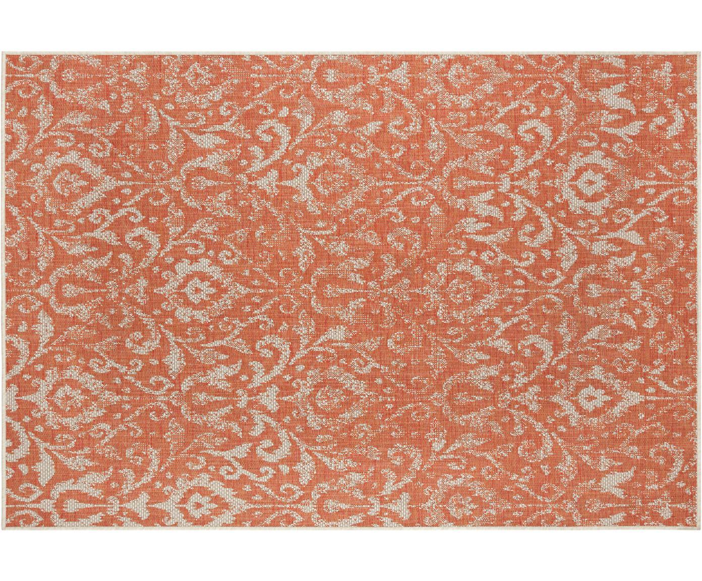In- en outdoor vloerkleed Hatta in vintage look, Polypropyleen, Oranje rood, beige, B 70 x L 140 cm (maat XS)