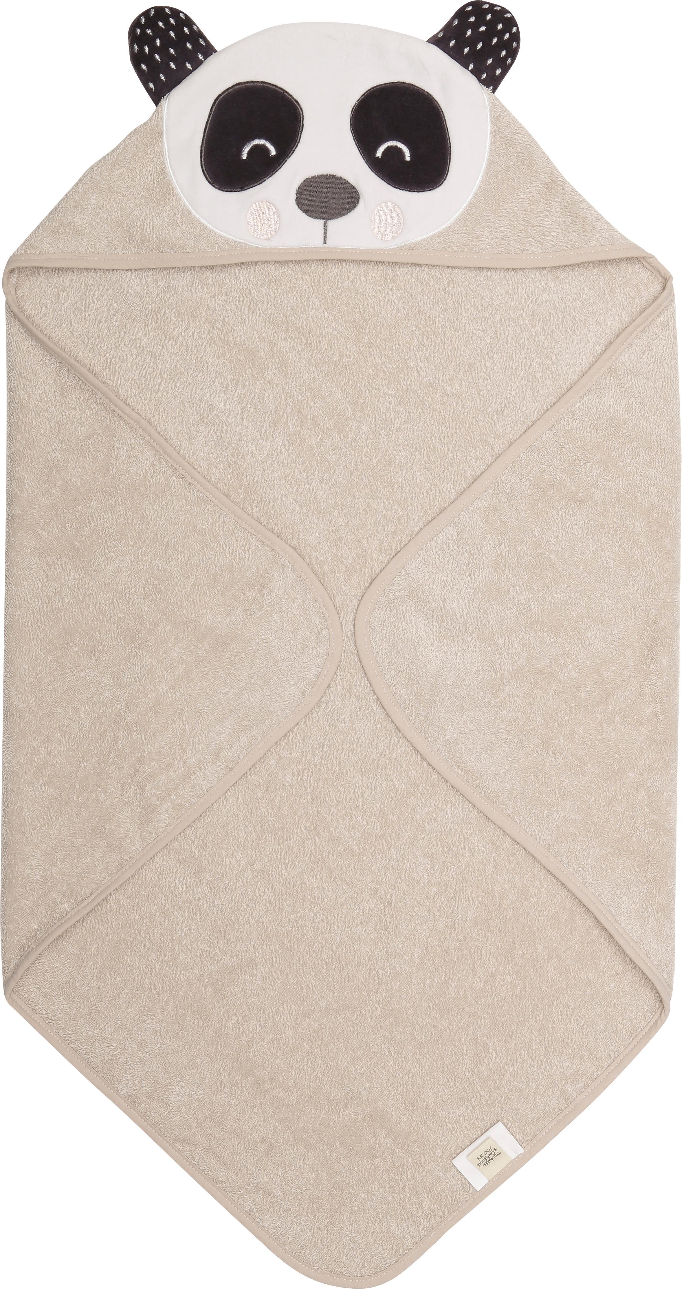Asciugamano per neonati in cotone organico Panda Penny, Cotone organico, certificato GOTS, Beige, bianco, grigio scuro, Larg. 80 x Lung. 80 cm