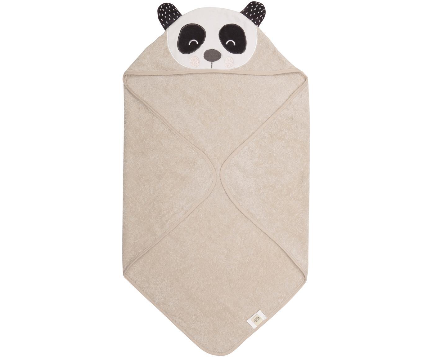 Babyhanddoek Panda Penny, Organisch katoen, GOTS-gecertificeerd, Beige, wit, donkergrijs, 80 x 80 cm