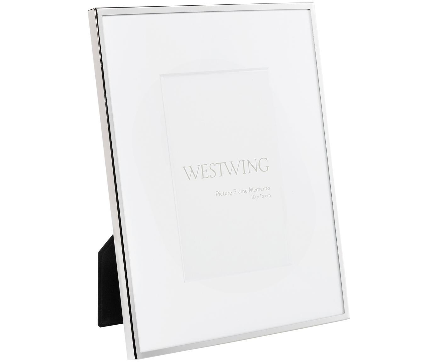 Bilderrahmen Memento, Rahmen: Metall, vernickelt, Front: Glas, spiegelnd, Rückseite: Holz, Samt, Silber, 10 x 15 cm