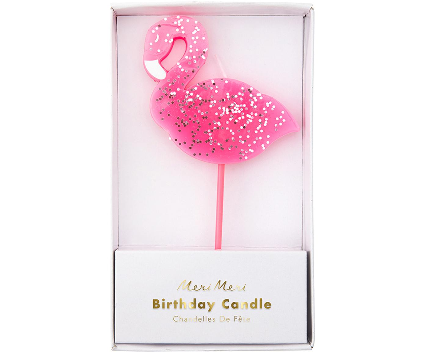 Candela per torta Flamingo, Paraffina, materiale sintetico, Rosa, Larg. 8 x Alt. 14 cm