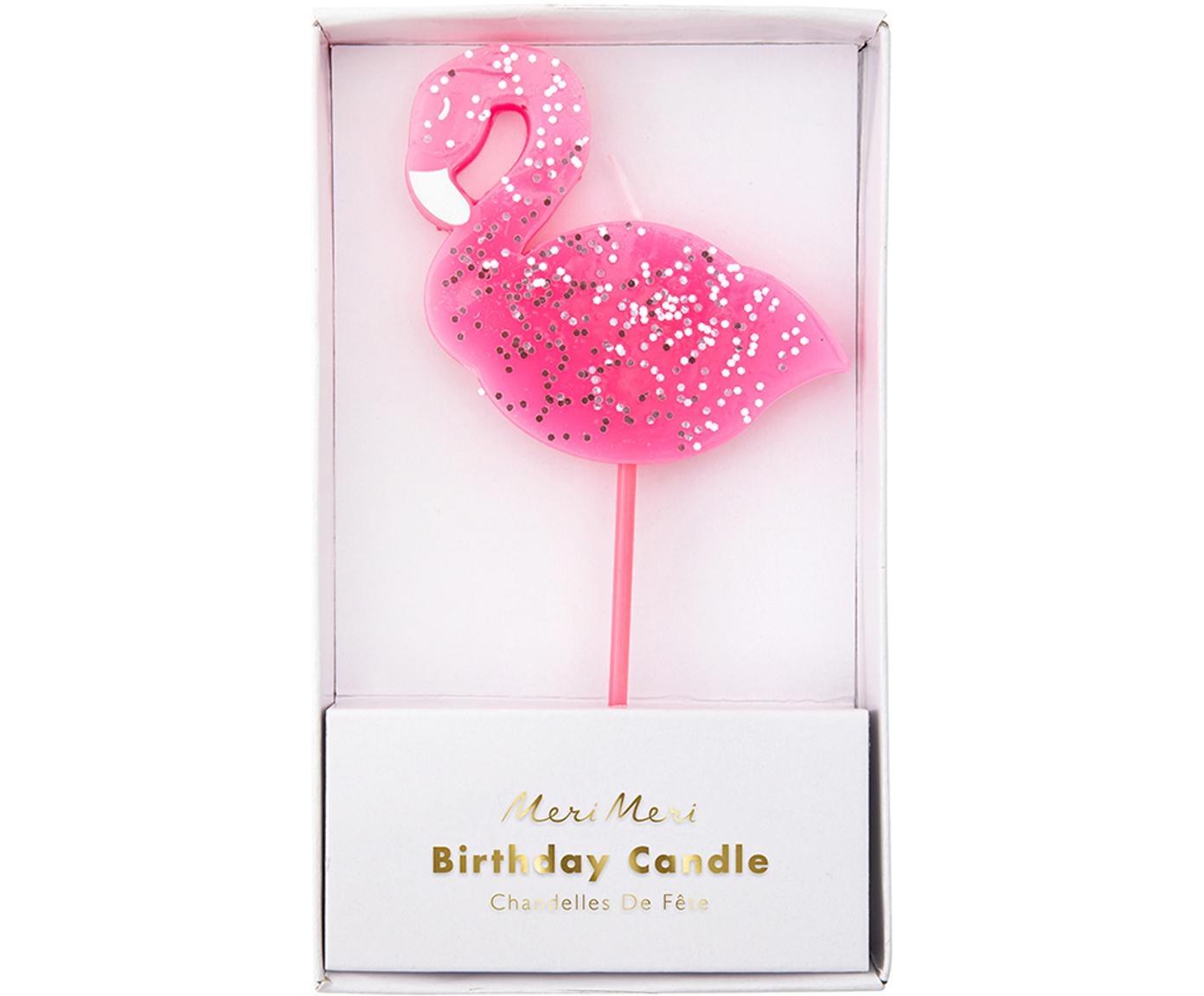 Tortenkerze Flamingo, Paraffinwachs, Kunststoff, Pink, 8 x 14 cm
