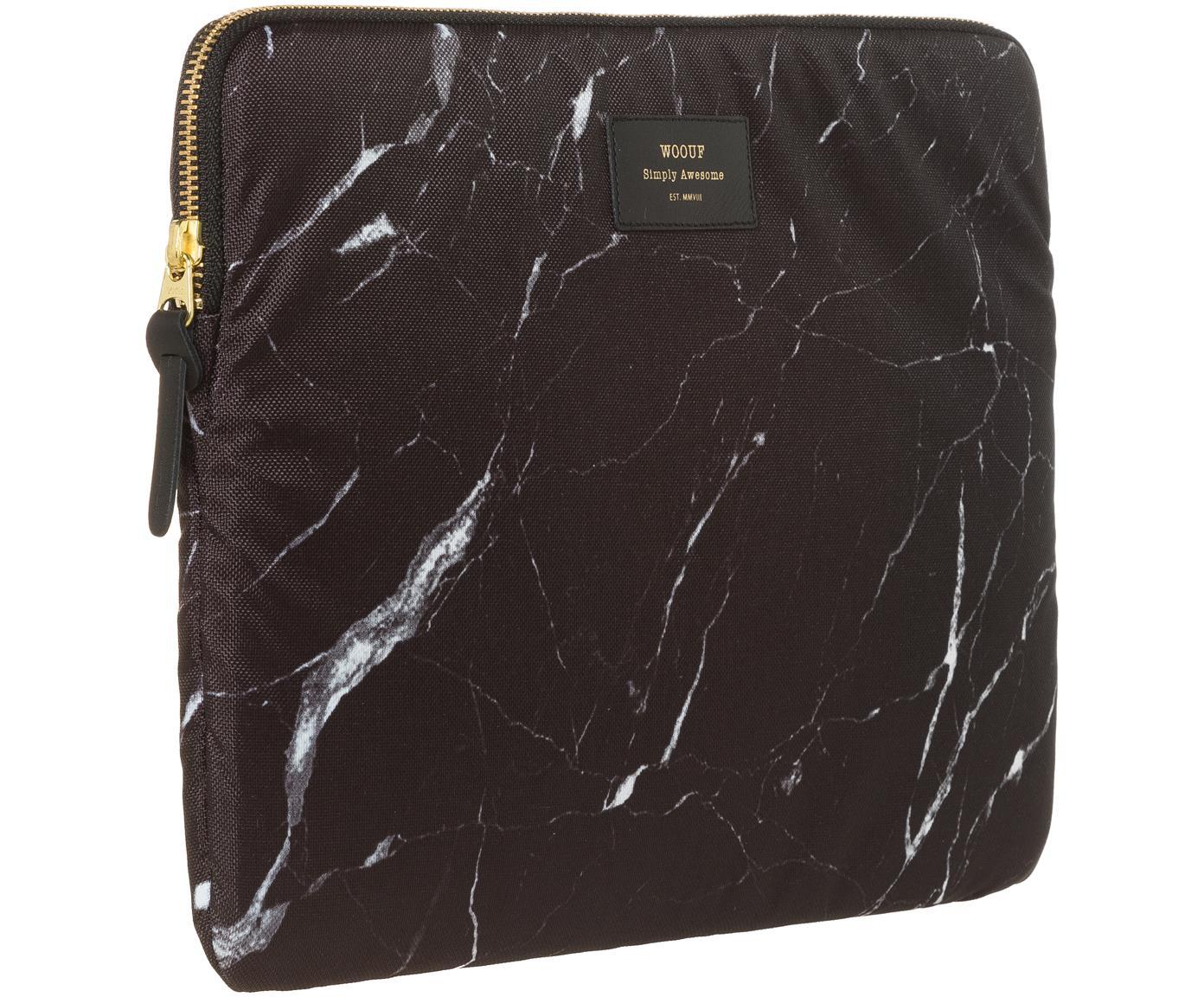 Laptophoes Marble voor MacBook Pro 13 Inch, Laptophoes: zwart, gemarmerd. Opdruk: zwart met goudkleurig schrift, 34 x 25 cm