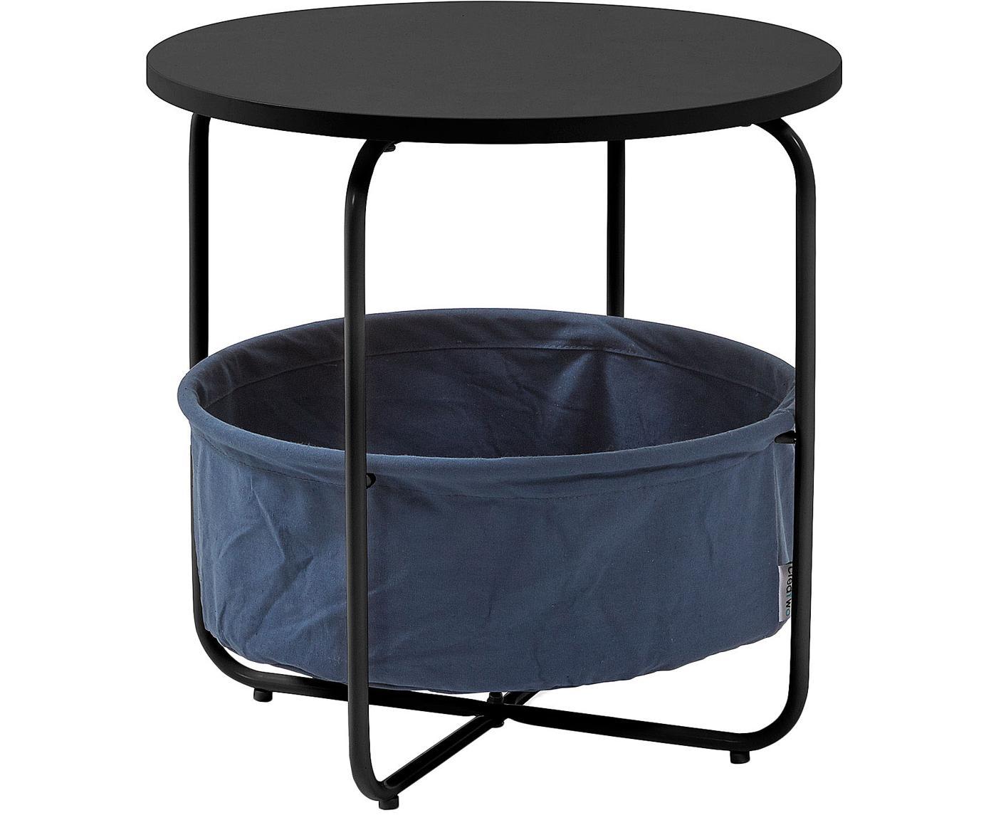 Tavolino con contenitore Specter, Piano d'appoggio: pannello di fibra a media, Struttura: metallo verniciato, Nero, blu scuro, Ø 42 x Alt. 43 cm