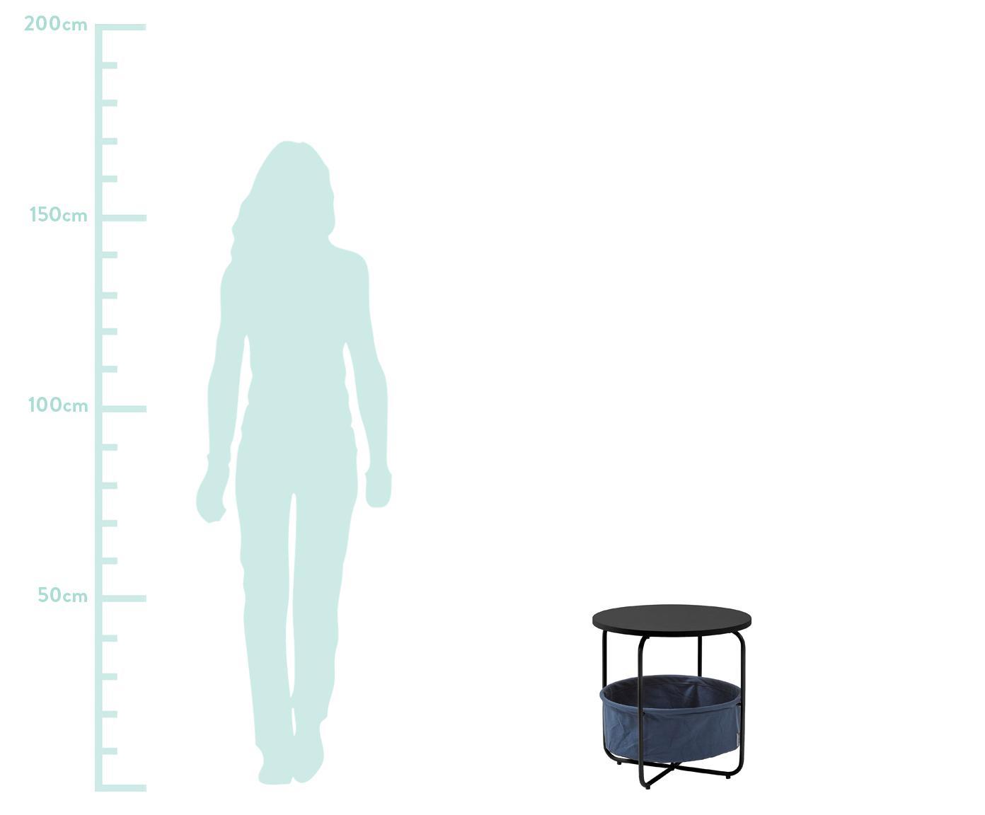 Runder Beistelltisch Specter mit Stauraum, Tischplatte: Mitteldichte Holzfaserpla, Gestell: Metall, lackiert, Korb: Fester Webstoff, Schwarz, Dunkelblau, Ø 42 x H 43 cm