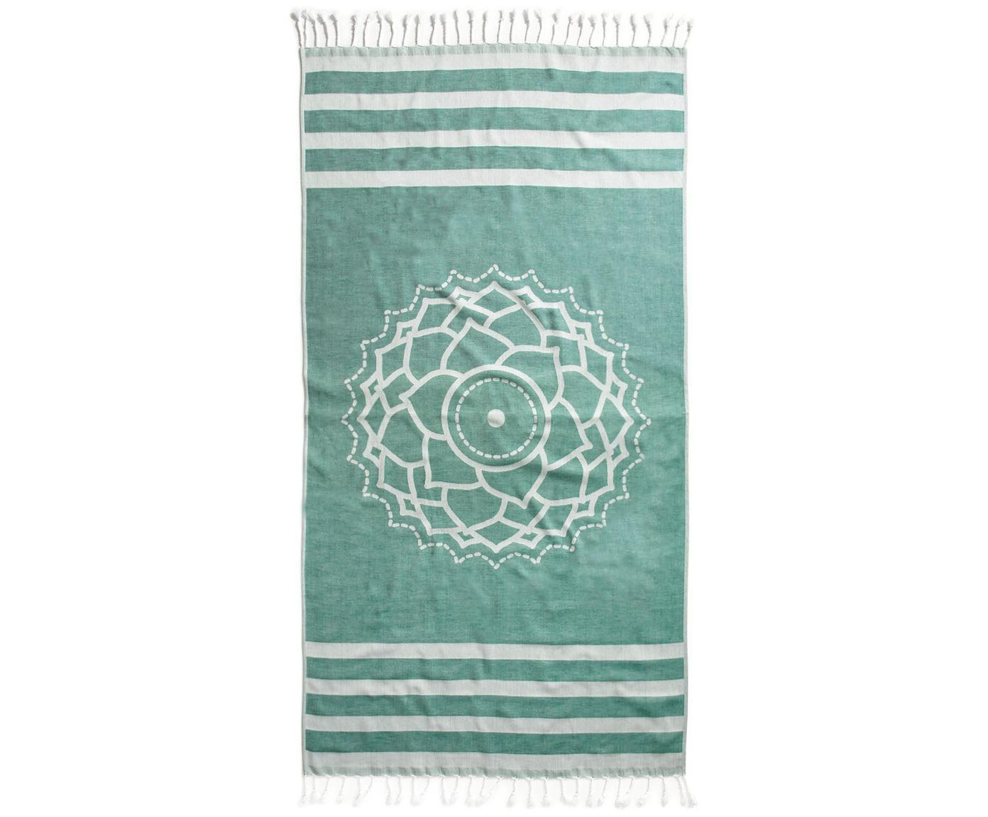 Hamamdoek Crown, Katoen lichte stofkwaliteit, 210g/m², Groen, wit, 90 x 180 cm
