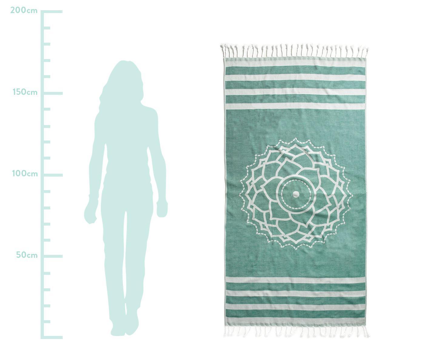 Fouta Crown, Bawełna Niska gramatura, 210g/m², Zielony, biały, S 90 x D 180 cm