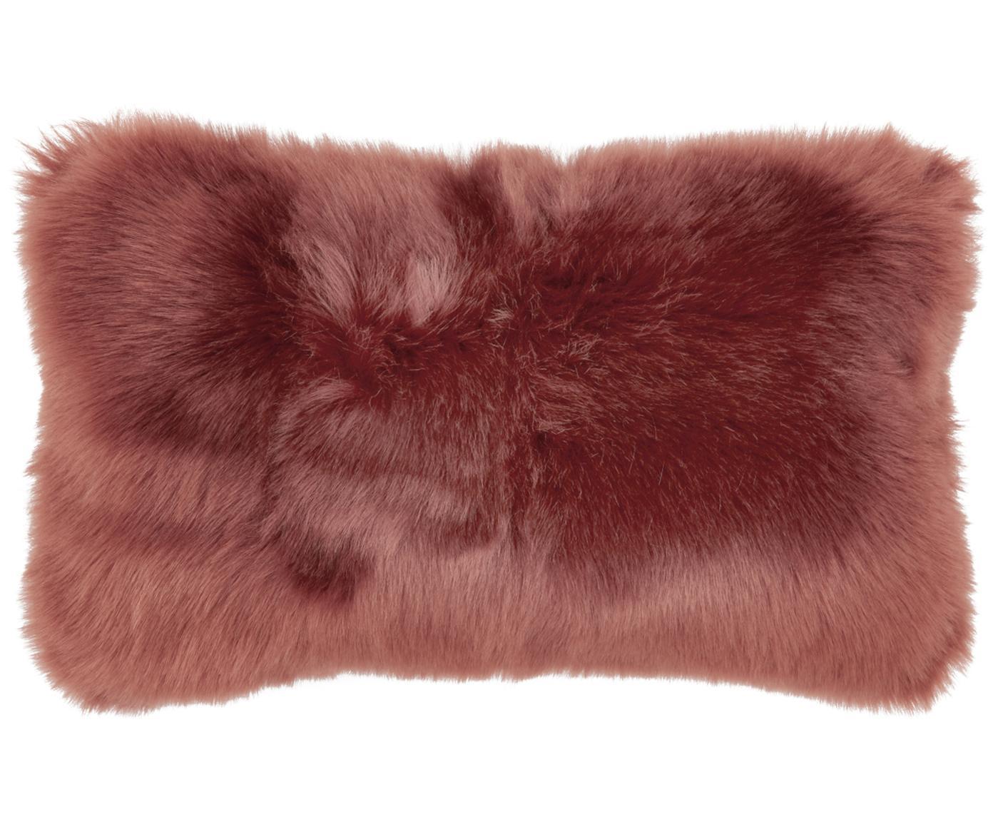 Flauschige Kunstfell-Kissenhülle Mathilde, glatt, Vorderseite: 67% Akryl, 33% Polyester, Rückseite: 100% Polyester, Terrakotta, 30 x 50 cm